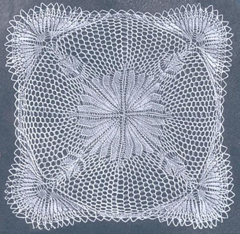 Square Doily In Knitted Lace