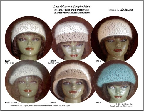 Lace Diamond Sampler Hats - Cover of Pattern Instructions