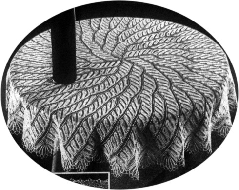 Spiral Ferns Round Tablecloth In Knitted Lace Designed By Herbert Niebling